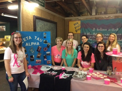 Zeta Tau Alpha Girls  Promote Breast Cancer Awareness