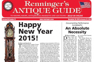 Read the Latest issue of the Renninger's Antique Guide Newspaper