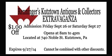 IDiscount Coupon For General Admission for the Kutztown Antiques & Collectors Extravaganza